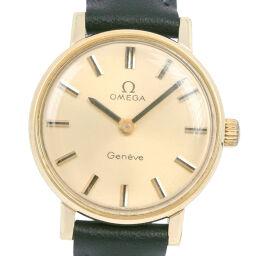 OMEGA オメガ GP×レザー 手巻き レディース ゴールド文字盤 腕時計【中古】