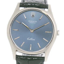 ROLEX Rolex Cellini 3804 K18 White Gold x Leather Manual Winding Men's Navy Dial Watch [Used]