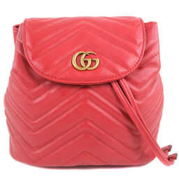 GUCCI Gucci GG Marmont 528129 Calf Red Ladies Backpack Daypack [Used] A-Rank