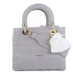 Dior Christian Dior Lady Dior LADY D-LITE Medium 2WAY Shoulder Canvas Gray Ladies Handbag [Used] A-Rank
