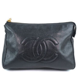CHANEL Makeup Pouch A07011X01501 Matte Caviar Skin Black Ladies Pouch [Used]