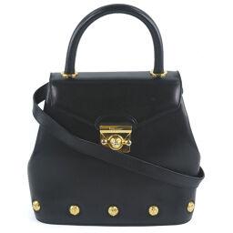 Salvatore Ferragamo 2WAY Shoulder Calf Black Ladies Handbag [Used]