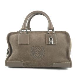 LOEWE Amazona 28 Suede Brown Women's Handbag [Used]