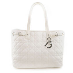 Dior Christian Dior Lady Dior Panarea Canage PVC Coated Canvas White Ladies Tote Bag [Used]