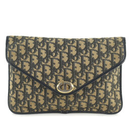 Dior Christian Dior Trotter Canvas Navy Unisex Clutch Bag [Used]