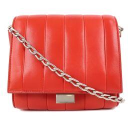 CELINE Celine Classic Box Chain Shoulder Calf Red Ladies Shoulder Bag [Used]