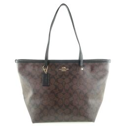 COACH Coach Signature F34104 PVC Coated Canvas Brown Ladies Tote Bag [Used] A-Rank