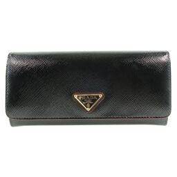 PRADA Prada SAFFIANO VERNIC 1MH132 Leather NERO Black Ladies Long Wallet [Used] S Rank