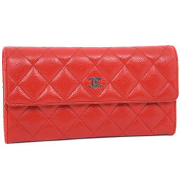 CHANEL Chanel Matrasse A50096 Matte Caviar Skin Red Ladies Long Wallet [Used] A-Rank
