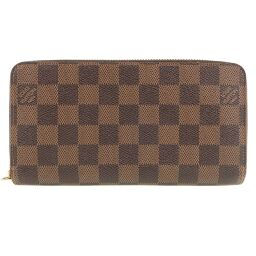 LOUIS VUITTON Louis Vuitton Zippy Wallet Round Zipper N60015 Damier Canvas Brown CA4123 Engraved Unisex Wallet [Used] A-Rank