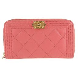 CHANEL Boy Chanel Compact Round Fastener-A80290 Matte Caviar Skin Pink Ladies Long Wallet [Used] A-Rank