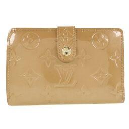 LOUIS VUITTON Louis Vuitton Portomonet Vie Vienova Gamaguchi M91361 Monogram Verni Noisette Beige MI0096 Engraved Ladies Long Wallet [Used]