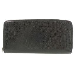 LOUIS VUITTON Louis Vuitton Zippy Wallet Vertical Round Zipper M30503 Taiga Aldwards Black CA1119 Engraved Men's Wallet [Used]