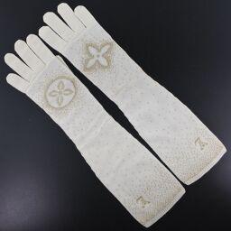LOUIS VUITTON Long Gloves Monogram Cashmere White Women's Gloves [Used] A-Rank