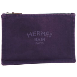 HERMES Hermes Flat Pouch Canvas Purple Ladies Pouch [Used]