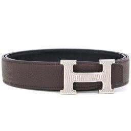 HERMES Hermes H Belt Constance Leather Brown Men's Belt [Used] A + Rank
