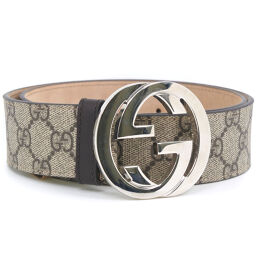 GUCCI Gucci Interlocking GG Supreme Canvas 411924 PVC Coated Canvas x Leather Brown Ladies Belt [Used] A Rank