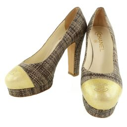 CHANEL High Heels Patent Leather x Jute Gold / Brown Women's Pumps [Used]