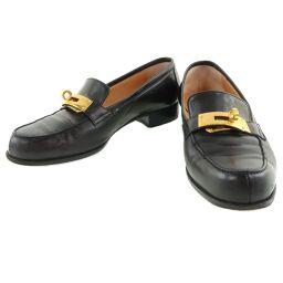 HERMES Hermes Kelly Leather Black Ladies Loafers [Used]