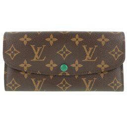 LOUIS VUITTON Louis Vuitton Portofeuil Emily M60137 Monogram Canvas Brown / Green CA2182 Engraved Women's Wallet [Used] A-Rank