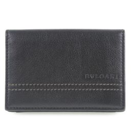 BVLGARI Bvlgari Business Card Holder 32792 Leather Black Men's Card Case [Used] A + Rank