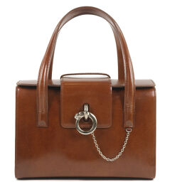 CARTIER Cartier Patent Leather Brown Ladies Handbag [Used] A-Rank