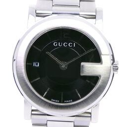GUCCI グッチ Gラウンド 101J ステンレススチール クオーツ メンズ 黒文字盤 腕時計【中古】A-ランク