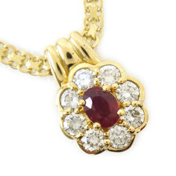 Concord K18 yellow gold x diamond x ruby D0.70 / R0.48 engraved ladies necklace [used] A rank