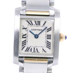 CARTIER カルティエ タンクフランセーズSM W51007Q4 ステンレススチール×K18イエローゴールド クオーツ レディース 白文字盤 腕時計【中古】