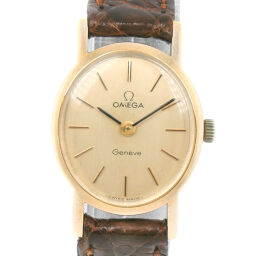OMEGA Omega Stainless Steel x Leather Manual Winding Ladies Gold Dial Wrist Watch [Used]