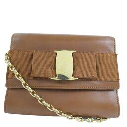Salvatore Ferragamo Chain Shoulder Vera Ribbon 21-3202 Calf Brown Ladies Shoulder Bag [Used]