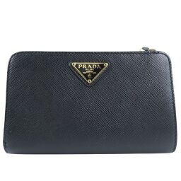PRADA Prada Saifu SAFFIANO TRIANG 1ML225 Leather NERO Black Ladies Bi-Fold Wallet [Used] A rank