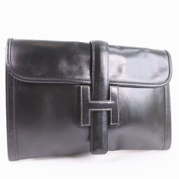 HERMES Hermes Jige second bag calf black unisex clutch bag [used]