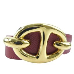 HERMES Hermes Chene Dunkle Calf Red 〇 X engraved ladies belt [used]