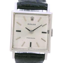 ROLEX ロレックス プレシジョン ステンレススチール×レザー 手巻き レディース シルバー文字盤 腕時計【中古】