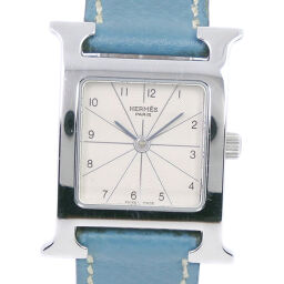 HERMES Hermes H Watch HH1.210 Stainless Steel x Leather Blue □ G Engraved Quartz Ladies Silver Dial Watch [Used]