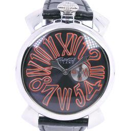 Gaga Milano Manuale 46 5084 Stainless Steel x Leather Black Quartz Men's Black Dial Watch [Used]