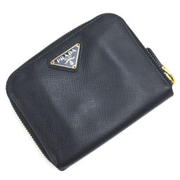 プラダ PRADA コンパクト  二つ折り財布 M605A  サフィアーノレザー NERO ブラック レディース K00115702