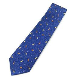 ブルガリ BVLGARI 楽器柄 ネクタイ  シルク100% ブルー メンズ K00205152