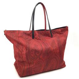 ETRO ETRO Paisley Pattern Tote Bag Nylon / Leather Red Ladies K00222270