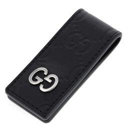 グッチ GUCCI シグネチャー GGロゴ マネークリップ  革(レザー) ブラック メンズ K00711004