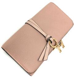 Chloe Chloe Alphabet ALPHABET M Long Wallet Calfskin Pink Ladies K00811500