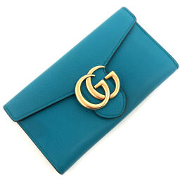 Gucci GUCCI GG Marmont Long Wallet 400586 Leather Blue Ladies K01006351