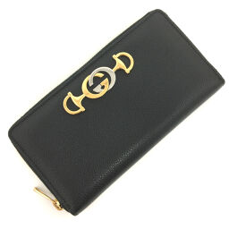Gucci GUCCI Zumi Zip Around Wallet 570661 Leather Black Ladies K01020577