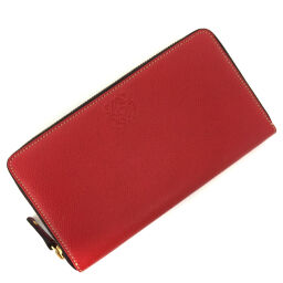 Loewe LOEWE Anagram Round Zip Purse Leather Red Ladies K01117087
