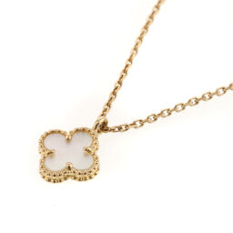 Van Cleef & Arpels Sweet Alhambra Mother of Pearl Necklace VCARF69100 K18 Yellow Gold / Shell Gold Ladies K01118108