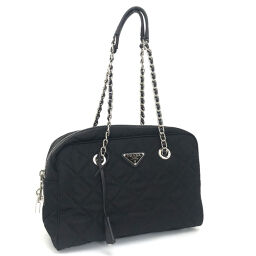 Prada PRADA Quilted Testo Shoulder Bag Nylon / Saffiano Leather NERO Black Ladies K01204309