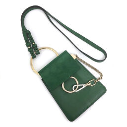 Chloe Chloe Faye Small Mini Shoulder Bag Calfskin / Suede Green Ladies K01214545