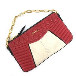 Miu Miu MIUMIU Nappa Biker Handbag Leather Red Ladies K10219195