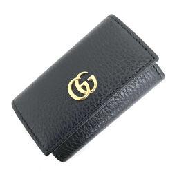 Gucci GUCCI GG Marmont 6-key case 456118 Leather Black Ladies K10316595